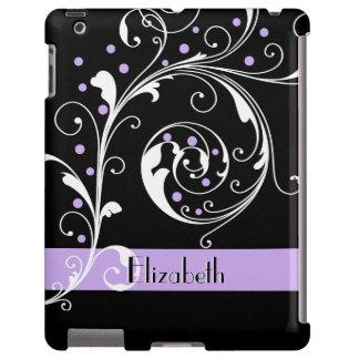 Negro floral elegante de la hoja de la voluta, funda para iPad
