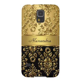 Negro floral elegante y oro del damasco