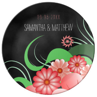"""Negro floral rosado 10,75"""" del hibisco placa de la plato de cerámica"""