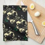 Negro floral tropical, crema, verde toalla de cocina
