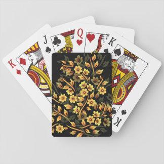 Negro floral y oro elegantes barajas de cartas