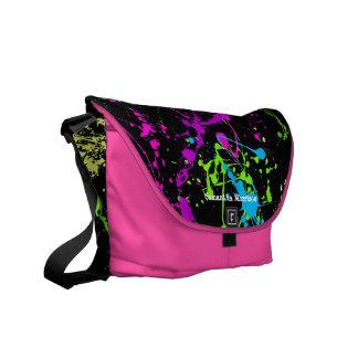 Negro fresco con el bolso de encargo colorido de l bolsas de mensajería
