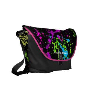 Negro fresco con el bolso de encargo colorido de l bolsa messenger