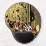 Negro fresco y Grunge retro floral del oro Alfombrilla De Ratón Con Gel