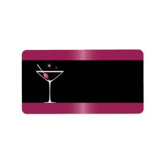 Negro fucsia de cristal de martini de la bebida el etiquetas de dirección