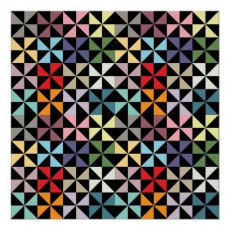 Negro geométrico colorido del molinillo de viento