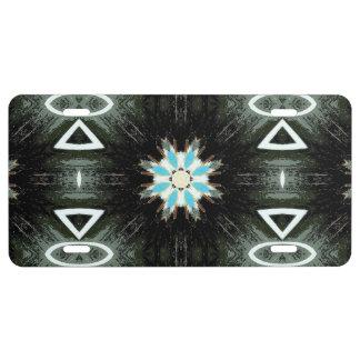 negro geométrico de la estrella-explosión azul placa de matrícula
