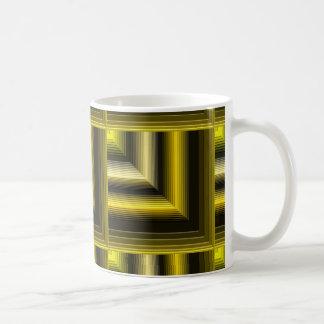 negro geométrico del amarillo del modelo taza de café