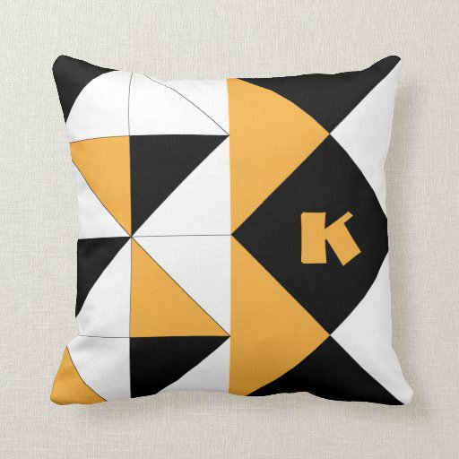 Negro geométrico Origami del amarillo del azafrán  Cojines