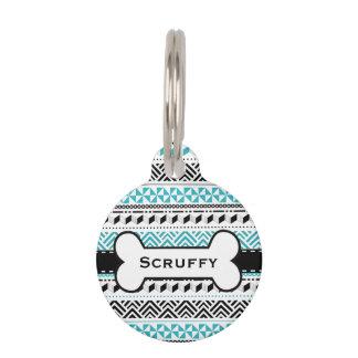 Negro geométrico tribal azteca moderno y identificador para mascotas