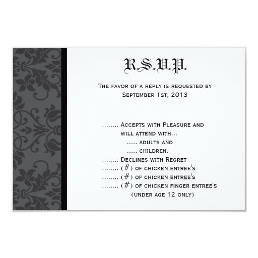 """negro Gothi formal gris de la tarjeta de Invitación 3.5"""" X 5"""""""