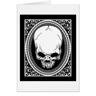 Negro gótico de los cráneos esqueléticos del ~ del tarjeta