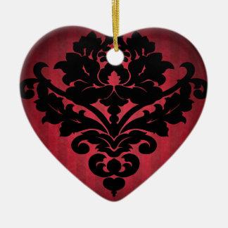 Negro gótico y rojo del damasco del vintage del Vi