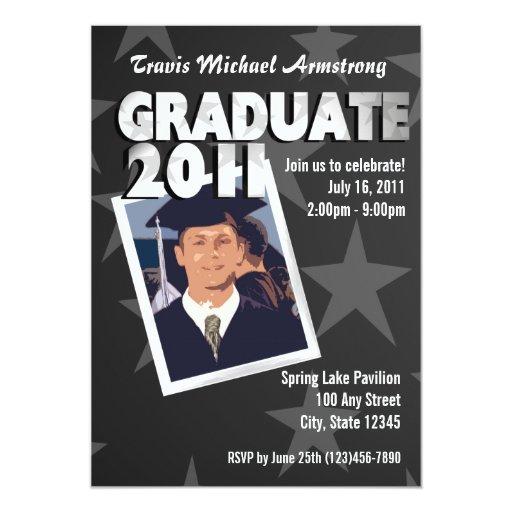 Negro graduado de la estrella invitación 12,7 x 17,8 cm