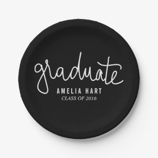Negro graduado moderno de la moda de la tipografía plato de papel de 7 pulgadas