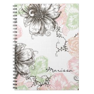 Negro gráfico del rosa de las flores del vintage f cuaderno