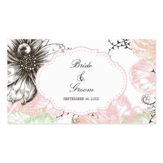 Negro gráfico del rosa de las flores del vintage f tarjeta de visita