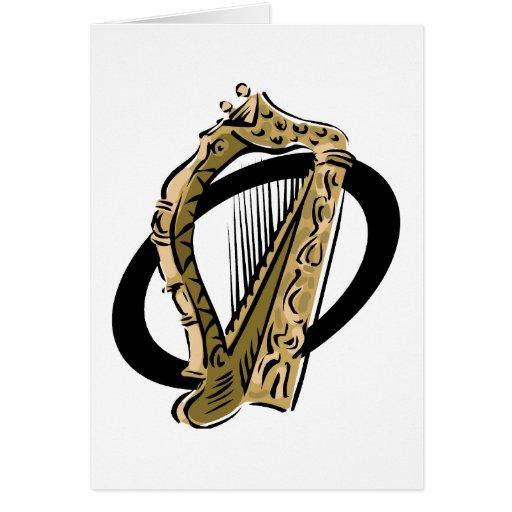 Negro gráfico ring.png de la arpa adornada tarjeta
