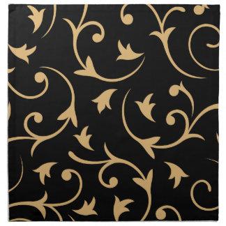 Negro grande barroco y oro del diseño servilleta imprimida