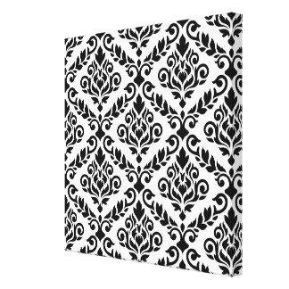 Negro grande de Ptn del damasco de Prima en blanco Impresión En Lienzo