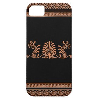 Negro griego del estilo y diseño floral anaranjado iPhone 5 carcasas