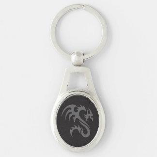 Negro gris del dragón 01 tribales llavero plateado ovalado