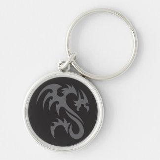 Negro gris del dragón 01 tribales llavero redondo plateado