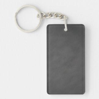Negro gris del tablero de tiza del fondo gris de llavero rectangular acrílico a una cara