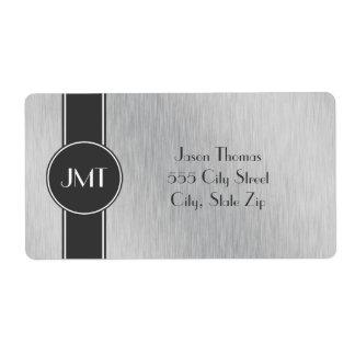 Negro hermoso del monograma y falso metal de plata etiqueta de envío