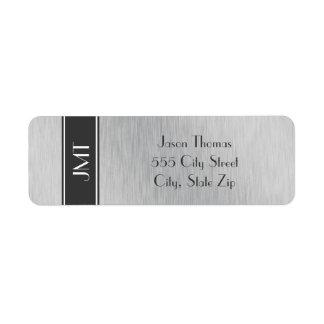 Negro hermoso del monograma y falso metal de plata etiquetas de remite