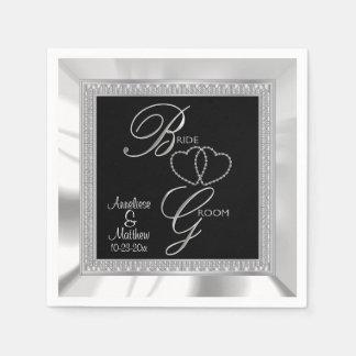 Negro hermoso, plata y boda blanco del satén servilletas de papel