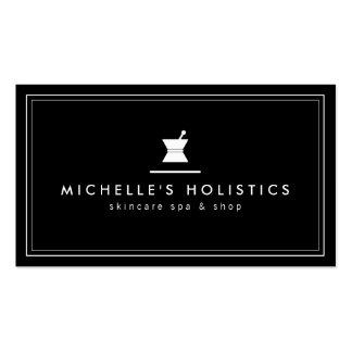 Negro holístico de la medicina del boticario tarjetas de visita