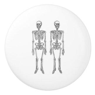 Negro humano doble de los esqueletos pomo de cerámica