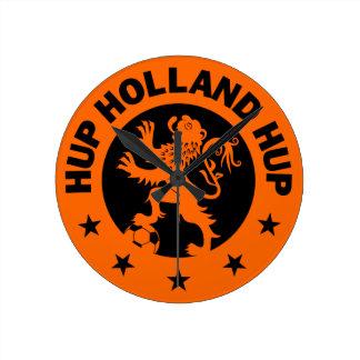 Negro Hup Holanda - color de fondo Editable Reloj Redondo Mediano