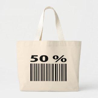 negro icono del código de barras del 50 por ciento bolsa de tela grande
