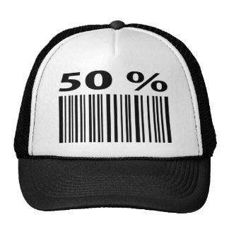 negro icono del código de barras del 50 por ciento gorro de camionero