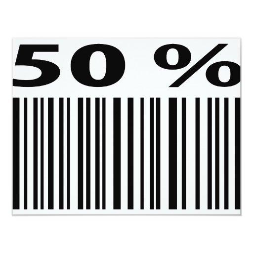 negro icono del código de barras del 50 por ciento invitación 10,8 x 13,9 cm