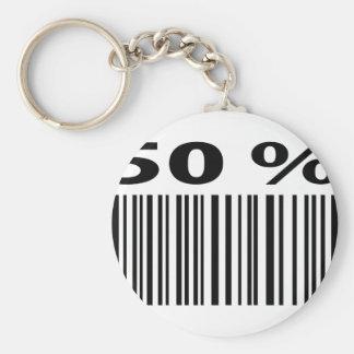 negro icono del código de barras del 50 por ciento llavero redondo tipo pin