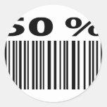 negro icono del código de barras del 50 por ciento pegatina redonda
