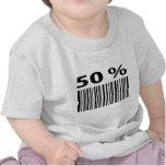 negro icono del código de barras del 50 por ciento camiseta