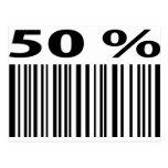 negro icono del código de barras del 50 por ciento postal