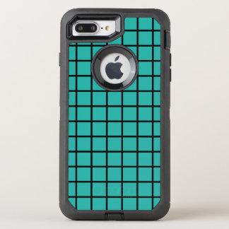 Negro inconsútil del modelo de la rejilla + su funda OtterBox defender para iPhone 7 plus