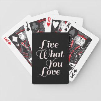 Negro inspirado del regalo de la cita del amor cartas de juego