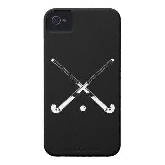Negro intrépido del hockey hierba de Blackberry iPhone 4 Cárcasas
