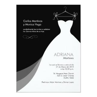 Negro Invitaciones de Quinceañera Vestido Invitación 13,9 X 19,0 Cm