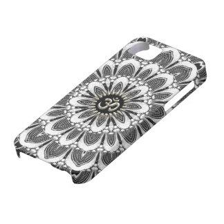 Negro+iPhone floral blanco 5 de la casamata de OM  iPhone 5 Cárcasa