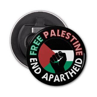 Negro libre del puño de la bandera del apartheid abrebotellas redondo