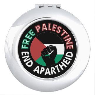 Negro libre del puño de la bandera del apartheid espejos de viaje