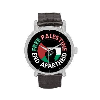 Negro libre del puño de la bandera del apartheid relojes de pulsera