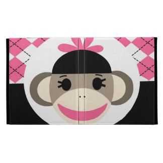 Negro lindo Argyle del rosa del mono del calcetín